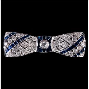 Vintage 1920's 18k White Gold Diamond & Sapphire Bow Style Brooch 10.22ctw