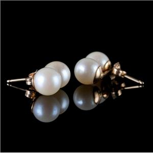 14k Yellow Gold Round Cut Cultured Duel Pearl Stud Earrings 3.1g