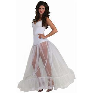 Adults Sexy Ballroom Length Long White Crinoline Slip Petticoat Underskirt