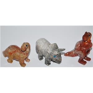 DINOSAUR Stone Carving (Lg) ALL THREE INCLUDED Dinosaur Replica #12842 15o