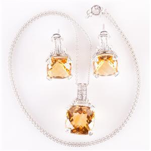 14k White Gold Citrine & Diamond Solitaire Necklace / Earring Set 14.6ctw