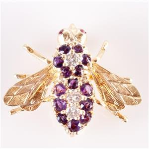 Vintage 1970's 18k Yellow Gold Amethyst Diamond Ruby Rosenthal Bee Brooch .78ctw