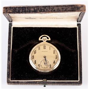 Vintage 1920's 14k Yellow Gold Hamilton Pocket Watch W/ Original Box & Papers