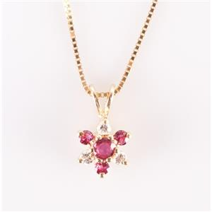 14k Yellow Gold Round Cut Ruby & Diamond Floral Flower Necklace .41ctw