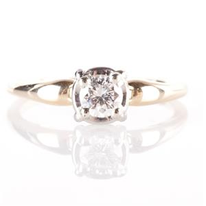 Vintage 1950's 14k Yellow & White Gold Diamond Solitaire Engagement Ring .33ct