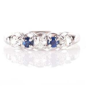 14k White Gold Old Mine Cut Diamond & Sapphire Vintage Style Band .48ctw