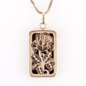 "14k Yellow Gold Rectangle Cut Onyx Floral Flower Pendant W/ 16"" Chain"