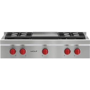 "Wolf 36"" 4 Dual-Stacked Sealed Burners Pro-Style Gas Rangetop SRT364GLP"