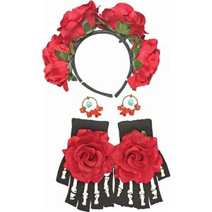 Day of The Dead Female Kit Costume Accessory Floral Headband Gloves Earrings