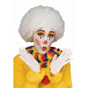 White Clown Curly Afro Costume Wig