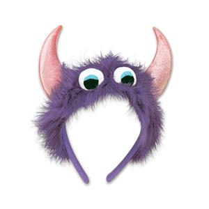 Beistle Purple Furry Fuzzy Monster Eyeballs Headband with Pink Horns