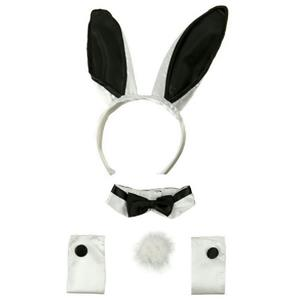 Sexy Black and White Bunny Ears Tail Collar Cuffs Costume Accessory Kit
