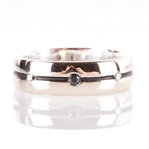 10k White Gold Round Cut Black & White Diamond Wedding / Anniversary Band .07ctw