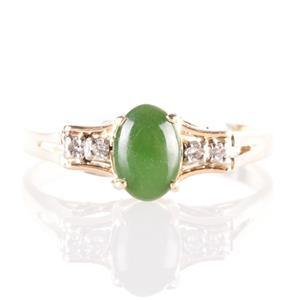 Vintage 1960's 14k Yellow Gold Oval Cut Jade & Diamond Ring .75ctw