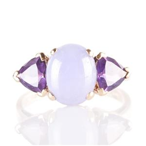14k Yellow Gold Oval Cabochon Cut Purple Jade & Amethyst Cocktail Ring 3.48ctw
