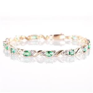 10k Yellow Gold Oval Cut Emerald & Diamond Tennis Bracelet 2.825ctw