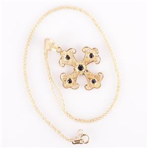 "18k Yellow Gold Round Cut Sapphire Cross Pendant W/ 18"" Chain .35ctw"