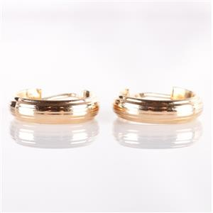 Traditional 14k Yellow Gold Ridged Hoop Earrings