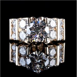 14k Yellow Gold Round Cut Diamond Solitaire Engagement Ring W/ Accents 2.48ctw
