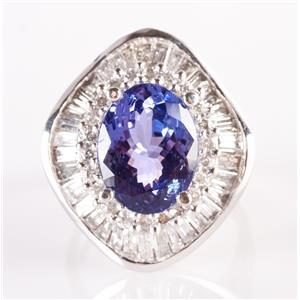 Ladies 14k White Gold Oval Cut Tanzanite Solitaire Ring W/ Diamonds 7.68ctw