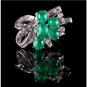 Vintage 1960's 14k White Gold Cabochon Emerald & Diamond Cocktail Ring 4.64ctw