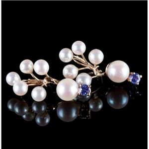 14k Yellow Gold Cultured Pearl & Tanzanite Lever Back Floral Earrings .54ctw
