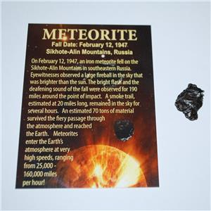 Sikhote Alin Russian Genuine Meteorite 4 to 5 gram size w/ Color Label #12860 2o