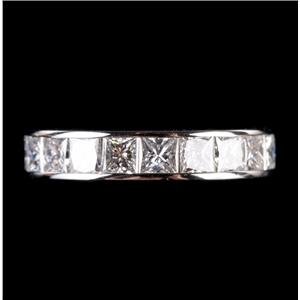Platinum Princess Cut Channel Set Diamond Wedding / Anniversary Band 1.87ctw