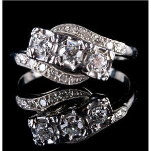 Vintage 1930's 14k White Gold Three-Stone Diamond Engagement Ring .44ctw