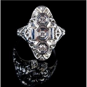 Vintage 1920's 18k White Gold Round Cut Diamond & Sapphire Cocktail Ring .36ctw