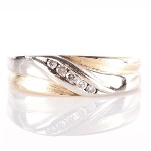 Men's 10k Yellow & White Gold Round Cut Diamond Wedding Band / Ring .15ctw