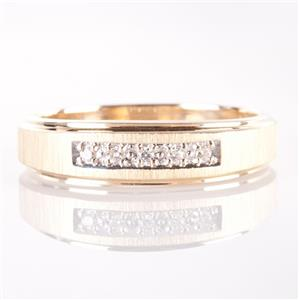 Men's 14k Yellow Gold Round Cut Diamond Wedding / Anniversary Band .08ctw