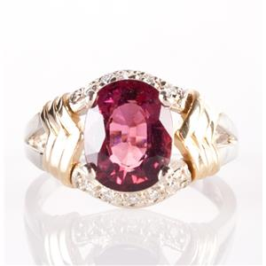 14k White & Yellow Gold Tourmaline & Diamond Solitaire Ring W/ Accents 2.91ctw