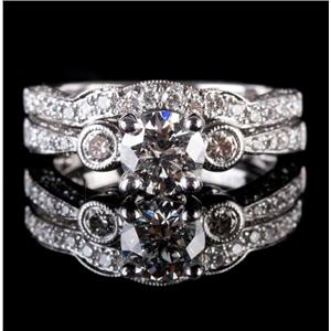 14k White Gold Round Cut Diamond Engagement / Wedding Ring Set 1.94ctw
