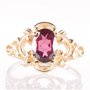 14k Yellow Gold Oval Cut Rhodolite Garnet Solitaire Cocktail Ring 2.30ct