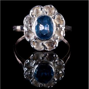 Vintage 1880's 14k Yellow & White Gold Sapphire & Diamond Cocktail Ring 2.35ctw