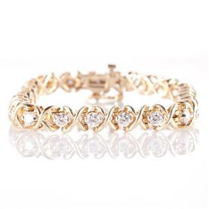"14k Yellow Gold Round Cut Diamond ""X Style"" Tennis Bracelet 2.50ctw"