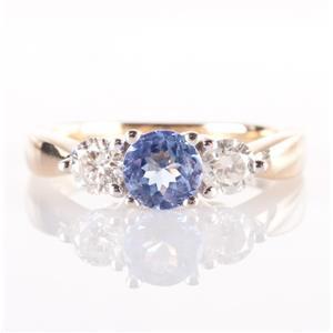14k Yellow & White Gold Sapphire & Diamond Three-Stone Engagement Ring 1.42ctw