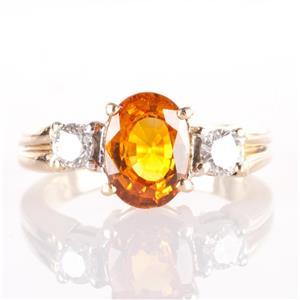 18k Yellow Gold Oval Cut Golden Sapphire & Diamond Three-Stone Ring 1.93ctw