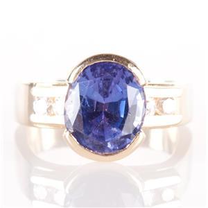 14k Yellow Gold Oval Cut AA Tanzanite Half Bezel Ring W/ Diamond Accents 2.30ctw