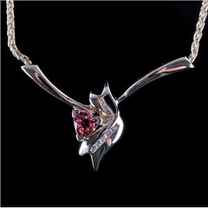 14k Yellow Gold Trillion Cut Pink Tourmaline & Diamond Necklace .79ctw