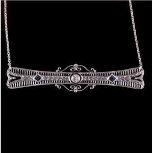 Vintage 1940's 14k White Gold Round Cut Diamond & Sapphire Necklace .29ctw