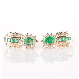 14k Yellow Gold Oval & Square Cut Emerald & Diamond Stud Earrings .80ctw
