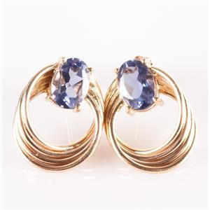 "14k Yellow Gold Oval Cut ""AA"" Tanzanite Solitaire Swirl Stud Earrings 1.60ctw"