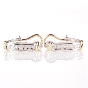14k Yellow & White Gold Two-Tone Round Cut Diamond Huggie Earrings .84ctw