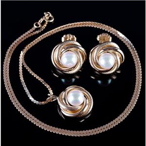 14k Yellow Gold Round Cut Cultured Pearl Solitaire Necklace / Earring Set