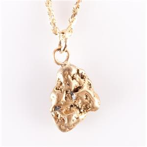 """14k Yellow Gold & 22k Natural Gold Nugget Solitaire Pendant W/ 18"""" Chain"""