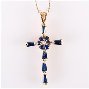 14k Yellow Gold Round / Baguette Cut Sapphire & Diamond Cross Necklace .52ctw