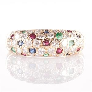 14k Yellow Gold Diamond / Sapphire / Ruby / Emerald Pave' Style Ring .74ctw