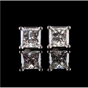 "14k White Gold Princess Cut ""H"" Diamond Solitaire Stud Earrings .44ctw"